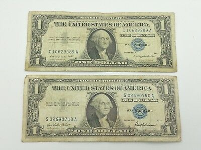 1957 & 1957A Blue Seal One $1 Dollar Silver Certificate Bill Old Paper Money R5