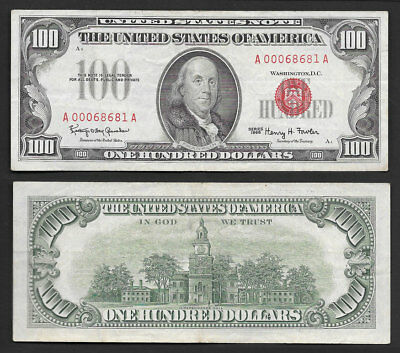 ">>Awesome<< $100 1966 ""red Seal"" United States Note Choice Mid/grade"