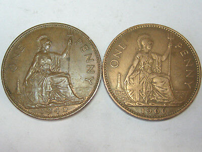 1940 & 1966 Great Britain Large Pennies, High Grade Circulated Bronze Coins
