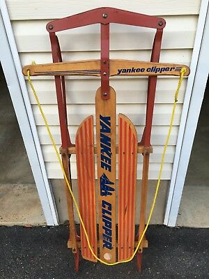 """Vintage Yankee Clipper Wood And Metal Sled 47"""" Long - Model F021"""