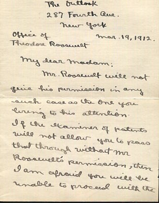 Roosevelt, Theodore / Autographed Letter Signed 1912  Signed