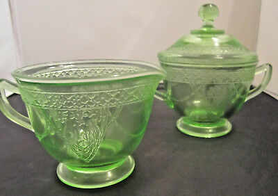 Green Depression Glass Sugar with lid and creamer