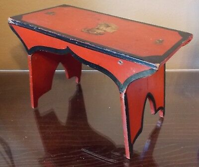 Wonderful Delicate Child's Footstool Paint Decorated W Transfer Dog On Top