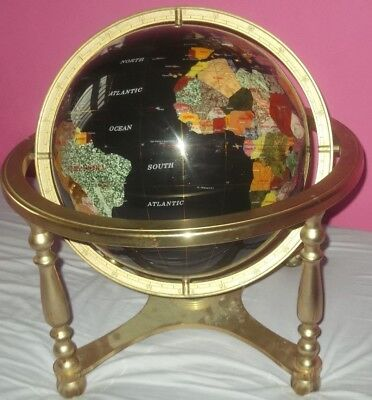 """17"""" inches Gemstone World Globe on Gold Brass Table Top Stand"""
