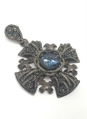 Antique 999 Silver Jerusalem Religious Cross Pendant With Blue Stone *Intricate*