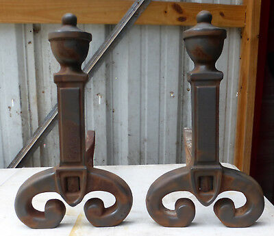 Pair of Cast Iron Fireplace Andirons Marked 2911