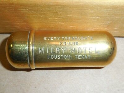 Milby Hotel Houston Texas - Antique Brass Tube Sewing Kit - Advertising - Rare!!
