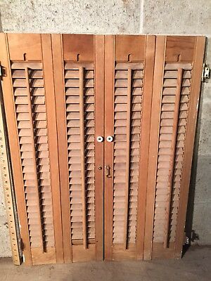 "32"" Tall VTG Colonial Wood Interior Louver Plantation Window Shutters-24"" Wide"