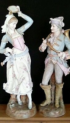 Antique bisque large figurine pair victorian Germany France ornate grand statue