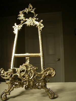 Vintage Solid Brass Ornate Victorian Style Display Easel Picture Plate Stand 15""