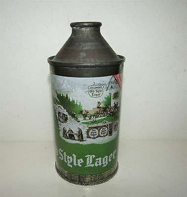 OLD STYLE LAGER beer 12 oz CONE TOP CAN GRADE 1-  177-28  WISCONSIN