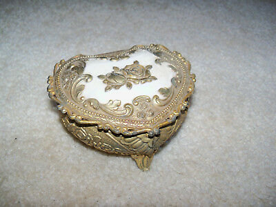 Vintage ornate metal heart shape jewelry ring small box Japan brass white enamel