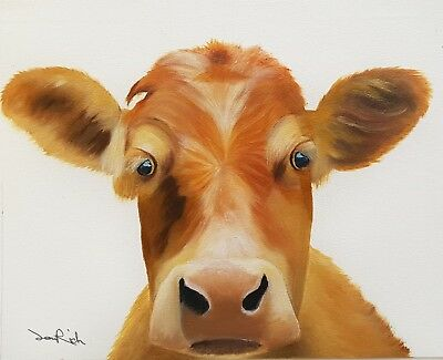 "Original Oil Painting COW Farm Animal by Sani.H 9""x11"""