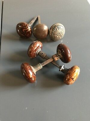 Antique Door knobs, Porcelin, Copper and Marble. Great condition Cool collection