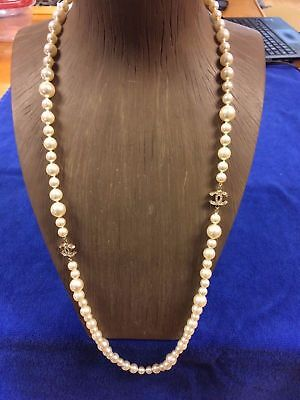 Chanel Faux Pearl Necklace with Gold Toned ccs