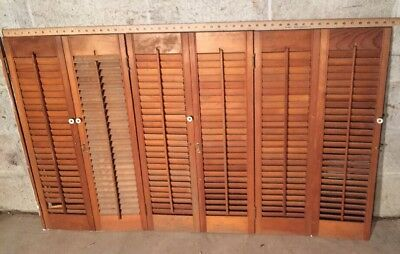"""32"""" Tall By 51.5""""W  VTG Colonial Wood Interior Louver Plantation Window Shutters"""