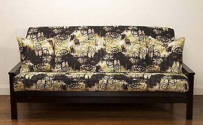 Graffiti Abstract Brown Tan Green Sis Futon Cover Choose Size