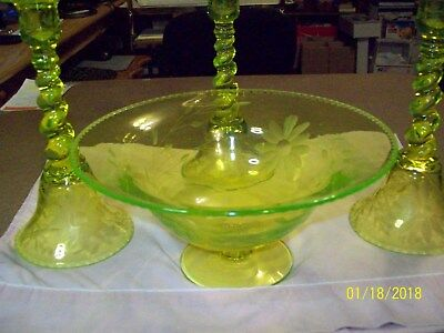 Vintage Vaseline Glass Flowered  Compote with three matching candle holders