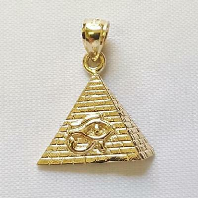 14k Yellow Gold Eye of Horus Egyptian Pyramid Pendant / Charm, Made in USA