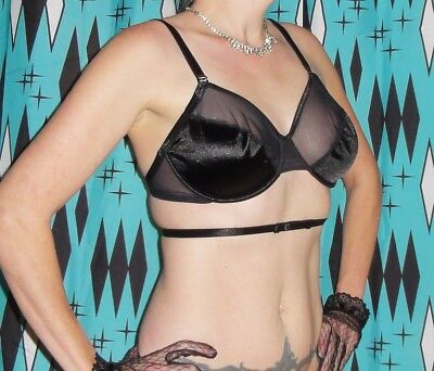 Vintage Black Understrap Push Up Bra 36 D pin up clothing girl 1950s retro sheer