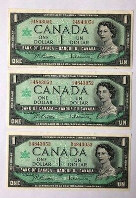 """"""""""" Canada 1967 """""""" One Dollar """""""" Three Consectifs Bank Notes """""""""""