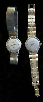 Lot Of 2 Vintage Mens Omega Automatic 14K Gold Filled & Solid Gold Watch Watches