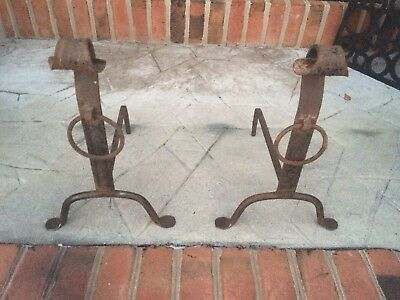 Antique Hand Wrought Forged Iron Andiron Set Fireplace Hearth Arts and Crafts