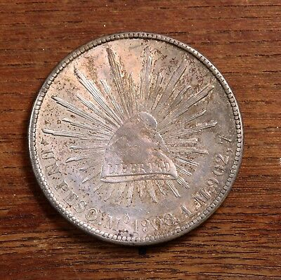 Raw 1908 Mexico Mo AM 1 Peso Ungraded Uncertified Mexican Silver Coin