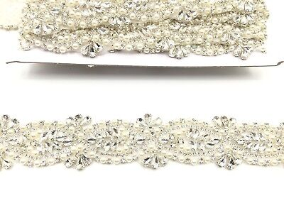 Stunning Crystal Bridal Belt Wedding Dress Sash Diamante Applique Beaded Trim