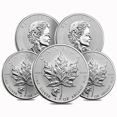 Lot of 5 - 2017 1 oz Silver Canadian Maple Leaf Cougar Privy Reverse Proof $5