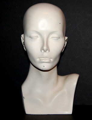 Female Mannequin Head Bust From wig Salon USED Hat Jewelry Display Fiberglass