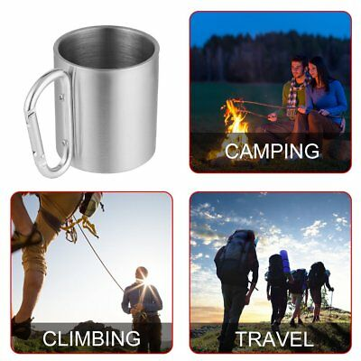 Outdoor Stainless Steel Water Tea Coffee Mug Self Lock Carabiner Handle Cup PN