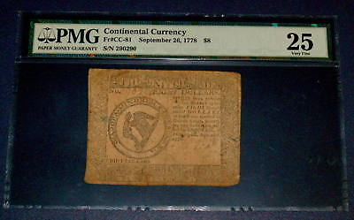 PMG Continental $8 Eight Dollar Currency VF 25 September 26 1778 FR CC 81