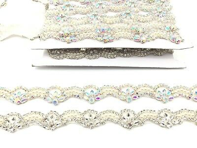 Silver Rhinestone Pearl Crystal Sash Belt Diamante Bridal Belt Trim Applique 11'