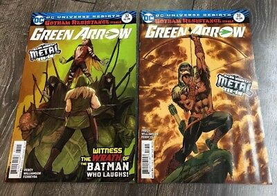 Green Arrow #32 A & B Variant Cover Lot Gotham Resistance Metal Tie-In Rebirth