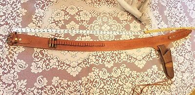 Vintage Gun Cartridge Belt Holster Canvas Leather