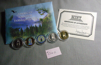 2010 First Commemorative and US Mint Hot Springs National Park 5 Quarter Set COA