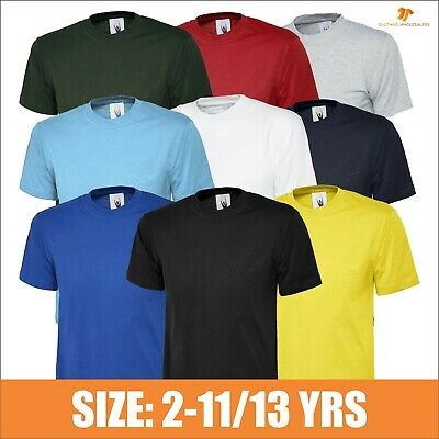 Childrens T-shirt Plain Round Neck Blank Kids Casual Tshirt Sports Day Tee T LOT
