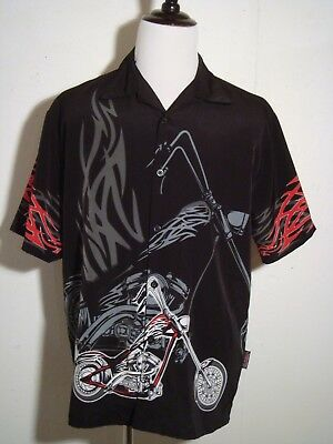 Sapphire Lounge Chopper Motorcycle Shirt Ape Bars Flames Black Gray Large NWOT