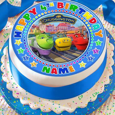 Chuggington Happy Birthday Personalised Precut Edible Birthday Cake Topper