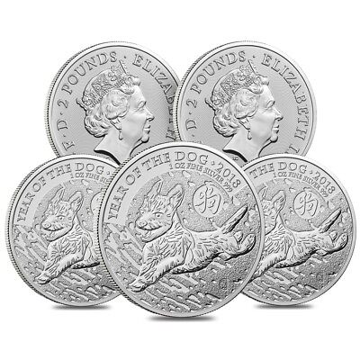 Lot of 5 - 2018 Great Britain 1 oz Silver Year of the Dog Coin .999 Fine BU