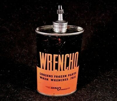 Vintage Wrencho Penetrating Oil Handy Oiler 3 oz Lead Top Spout Rare Old Tin Can
