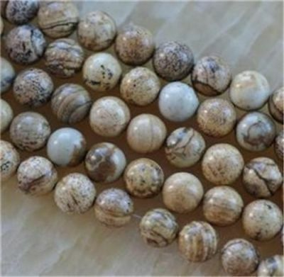 Natural 8mm round Chinese Picture stone gems loose beads 15inch ca