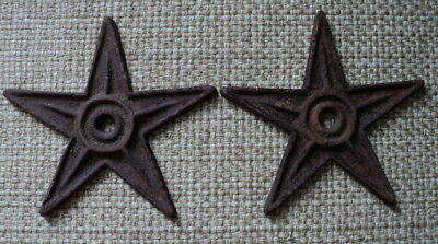 "Early Primitive Cast Iron Wall / Barn / Architectural 8 1/2"" Stars - Outstanding"