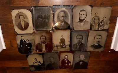 BIG LOT of (42) Large Size Antique Tintype Photos Many Full Plate