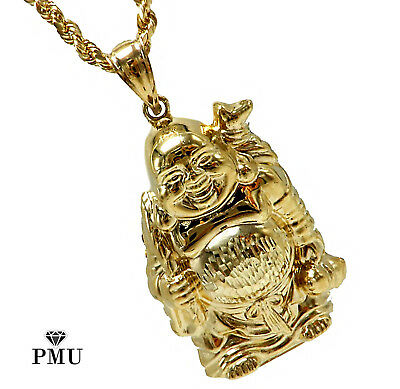 Buddha 10K Yellow Gold Men's Pendant with Rope Chain Set Fine Jewelry