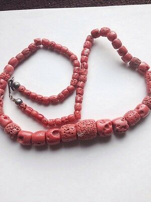 Antique Vintage Old Pink Natural Ocean Coral  Beads Necklace