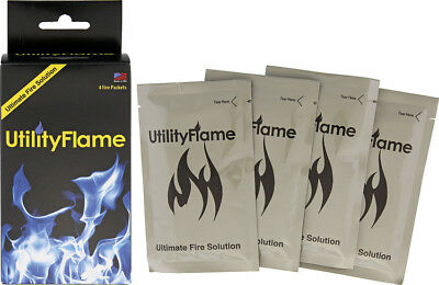 NIB UtilityFlame Fire Packets 37ml Knife UF125RBNS Contains four 37ml