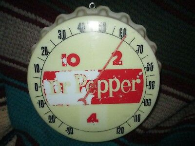 """Vintage 1950's Dr Pepper Soda Pop Gas Station 11"""" Thermometer / Advertising"""