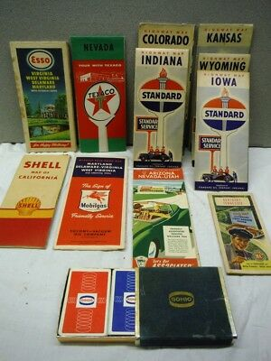 11 Vintage Road Maps Sinclair Standard Texaco Esso and Shell and a Sohio Cards